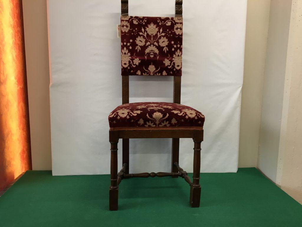 Sedia legno con intarsio e imbottitura bordaux usato for Mobili federici